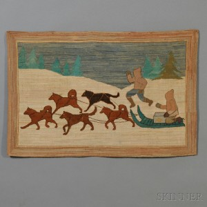 Grenfell Pictorial Hooked Rug with Dog Sled Scene