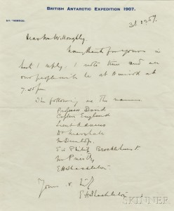 Shackleton, Sir Ernest Henry (1874-1922) Autograph Letter Signed, 31 December 1907.