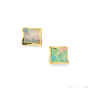 18kt Gold and Mother-of-pearl Earclips, Angela Cummings