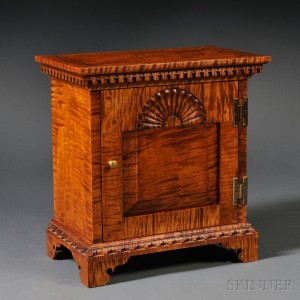 Chippendale Style Carved Tiger Maple Spice Chest