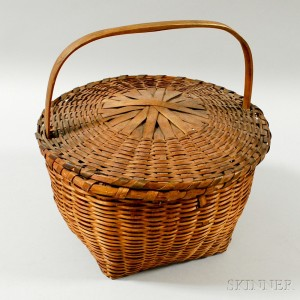 Woven Splint Covered Gathering Basket
