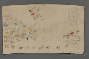 Sold for: $94,800 - Rare Pictograph Drawing on Muslin by Chief Henry One Bull (Sitting Bull's Nephew)