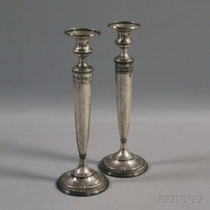 Pair of Matthews Classical Revival Weighted Sterling Silver Candlesticks