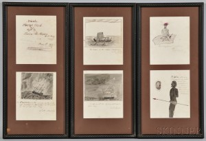 """Six Framed Pages from the """"Private Scrap Book"""" of Lucius M. Mason, U.S. Navy"""