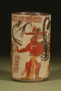 Sold for: $22,515 - Pre-Columbian Polychrome Pottery Cylinder