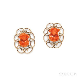 Pair of 14kt Gold and Coral Brooches, Raymond Yard