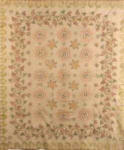 Stenciled and Stamp Decorated Woven Cotton Bedspread