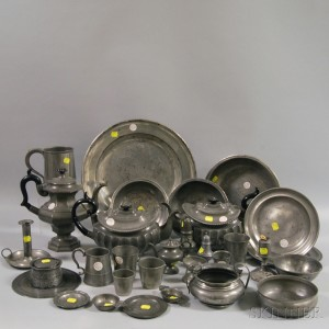 Bon Approximately Thirty Pieces Of Pewter Tableware