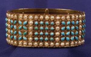 Antique 15kt Gold, Turquoise and Seed Pearl Bracelet, Carlo Giuliano