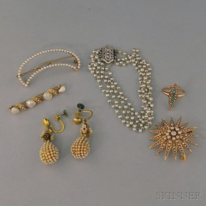 Small Group of Gold and Seed Pearl Jewelry