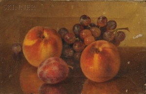 Bryant Chapin (American, 1859-1927)      Still Life with Peaches, Plum, and Grapes