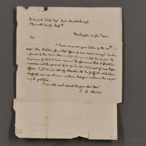 Adams, John Quincy (1825-1829) Autograph Letter Signed, 10 January 1832.