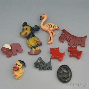 Nine Bakelite and Plastic Animals, Mostly Brooches