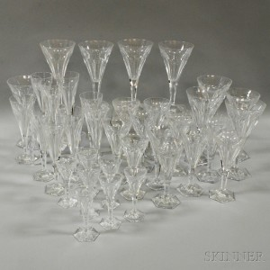 Thirty-six Pieces of Val St. Lambert Colorless Glass Stemware.     Estimate $300-400