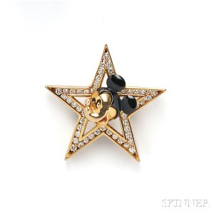 14kt Gold and Diamond Figural Brooch