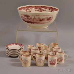 Wedgwood Harvard Tercentenary Red Transfer-decorated Punch Bowl and Twelve Cups and Saucers.     Estimate $300-400