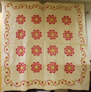 Hand-stitched Pieced Cotton Love Apple Pattern Quilt and a Rose Pattern Trapunto   Quilt