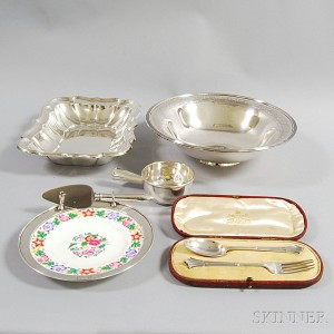 Six Pieces of Sterling Silver and Silver-mounted Tableware