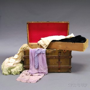 Large Steamer Trunk of Mostly Antique Clothing and Accessories