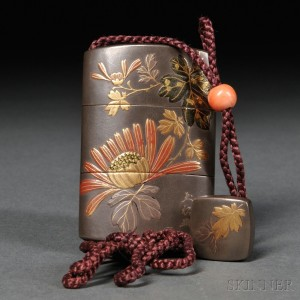 Lacquered Inro with Ojime and Netsuke