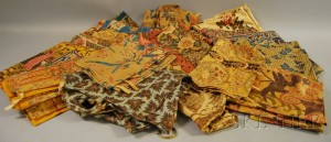 Group of Mostly 19th Century Printed Cotton Drapery and Textile Segments