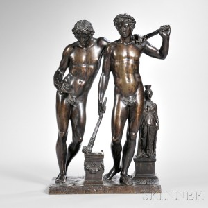 Bronze Figure of Two Greek Male Athletes