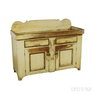 Yellow-painted Pine Dry Sink