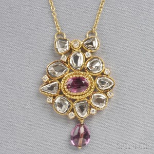 18kt Gold, Spinel, and Diamond Pendant