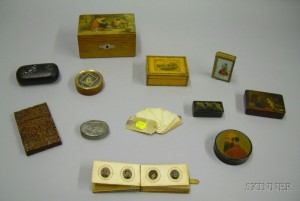 Group of Twelve Small Decorated Lidded Boxes and Articles