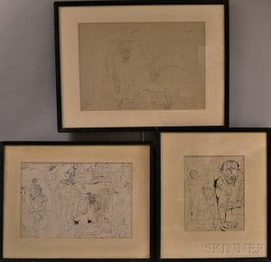 Lajos Szalay (Hungarian, 1919-1995)      Three Ink Drawings: Two Nude Figures ;  Christ Crucified and the Apocalypse