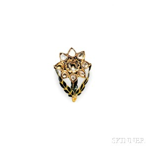 Gold, Enamel, and Diamond Pendant/Brooch