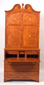 Sold for: $127,000 - Federal Cherry Inlaid Desk Bookcase