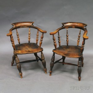 Pair Of Black Painted Windsor Captainu0027s Chairs