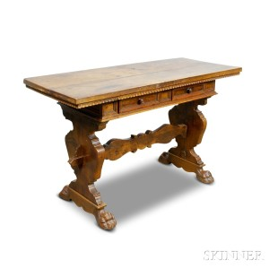 Small Renaissance Style Carved Walnut Two Drawer Refectory Table