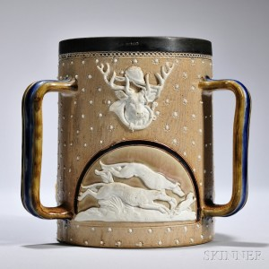 Three-handled Stoneware Mug, Doulton Lambeth, England, late 19th century, cylindrical body with three arched reserves showing scenes of