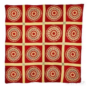 """""""Mariner's Compass"""" Variant Yellow and Red Patchwork Quilt"""