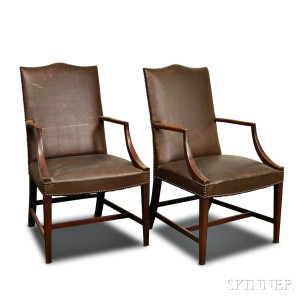 Pair Of Federal Style Mahogany Lolling Chairs