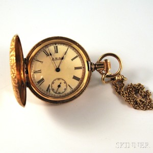 14kt Gold Waltham/American Watch Co. Hunting Case Pocket Watch on Chain