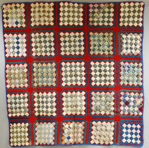 Two Geometric Calico Patchwork Cotton Quilts