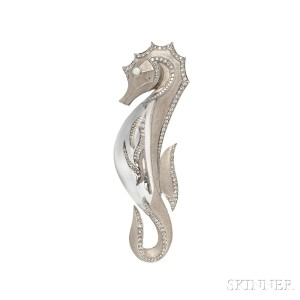 18kt White Gold, Rock Crystal, and Diamond Seahorse Brooch, Mauboussin