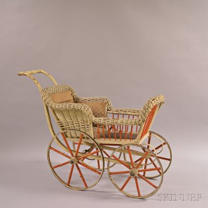White-painted Wicker and Turned Wood Doll Carriage.     Estimate $100-150