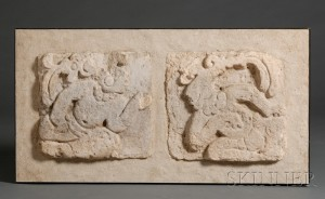 Sold for: $4,740 - Two Pre-Columbian Relief-Carved Stucco Panels
