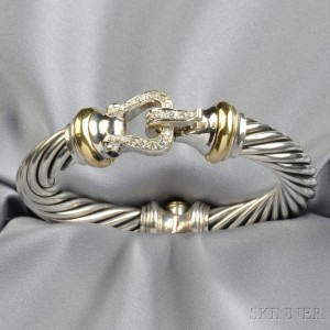 Sterling Silver And Diamond Cable Buckle Bracelet David Yurman