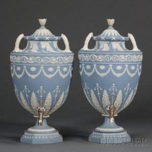 Sold for: $47,400 - Pair of Wedgwood Solid Blue Jasper Tea Urns and Covers