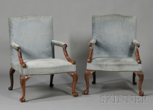 Sold for: $53,325 - Fine Pair of Early George III Carved Mahogany Library Armchairs