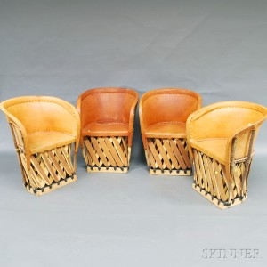 Set Of Four Mexican Slat Constructed Barrel Back Chairs With Stretched  Leather Uphol