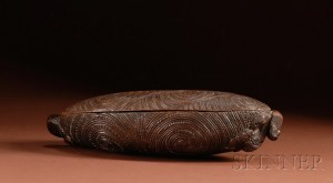 Sold for: $13,035 - Polynesian Carved Wood Treasure Box