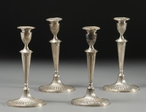Set of Four Gorham Weighted Sterling Classical Revival Candlesticks