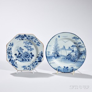 Two Tin-glazed Earthenware Chinoiserie-decorated Plates