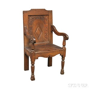 Carved Oak Wainscot Chair